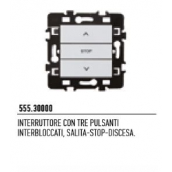 555.30000 NICE Interruttore con tre pulsanti interbloccati, salita-stop-discesa
